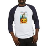 Halloween Owl & PUmpkin (Front) Baseball Jersey