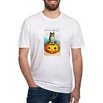 Halloween Owl & PUmpkin (Front) Fitted T-Shirt
