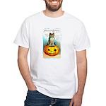 Halloween Owl & PUmpkin (Front) White T-Shirt