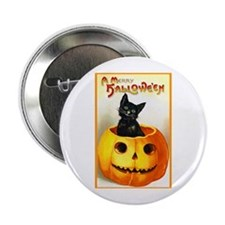 Jackolantern Black Cat Button