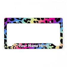 Rainbow Leopard Animal Print License Plate Holder