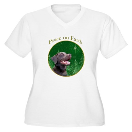 Chocolate Lab Peace Women's Plus Size V-Neck T-Shi