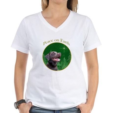 Chocolate Lab Peace Women's V-Neck T-Shirt