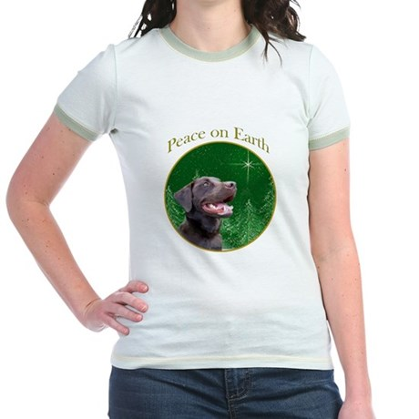 Chocolate Lab Peace Jr. Ringer T-Shirt