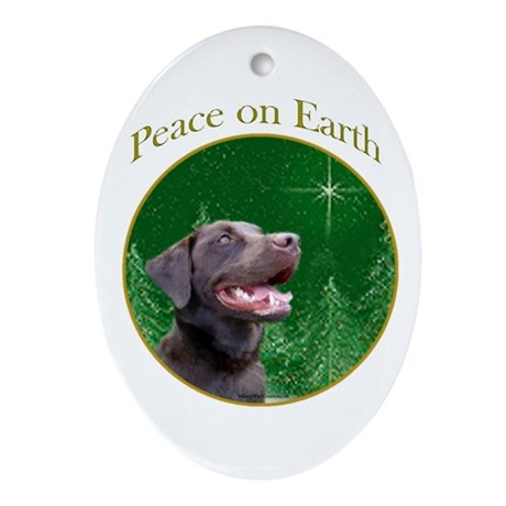 Chocolate Lab Peace Oval Ornament