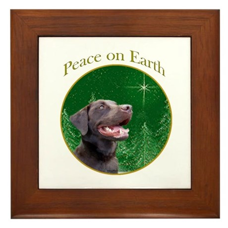 Chocolate Lab Peace Framed Tile