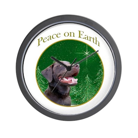 Chocolate Lab Peace Wall Clock
