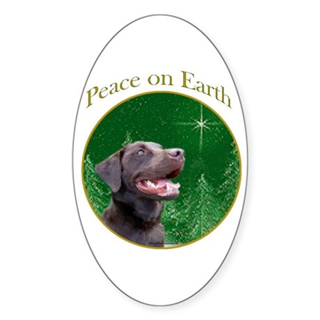 Chocolate Lab Peace Oval Sticker