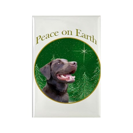 Chocolate Lab Peace Rectangle Magnet