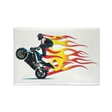 Wheelie Flames 1 Rectangle Magnet