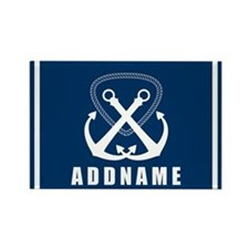 Navy Double Anchor Personalized Rectangle Magnet