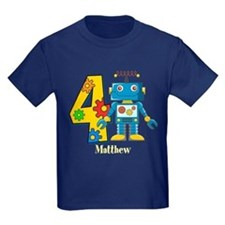 4th Birthday Robot Custom T