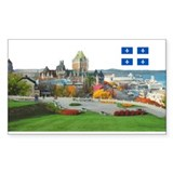 Old Quebec Pano with one Flag Sticker (Rectangular