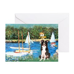 Sailboats & Border Collie Greeting Cards (Pk of 20