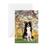 Spring & Border Collie Greeting Card