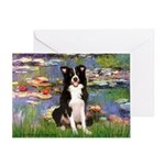 Lilies & Border Collie Greeting Card