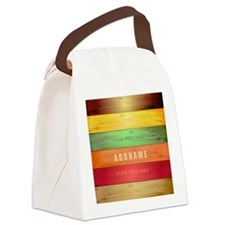 Personalized Colorful Wood Textur Canvas Lunch Bag