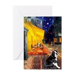 Cafe & Boston Terrie Greeting Card