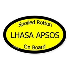 Spoiled Lhasa Apsos On Board Oval Decal