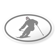 SKI Skier Oval Decal