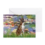 Lilies & Brindle Boxer Greeting Card