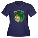 Shiba Peace Women's Plus Size V-Neck Dark T-Shirt