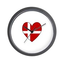 Danish Flag Heart Wall Clock