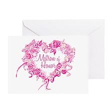 BP Pink Heart Matron of Honor Greeting Card