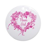 BP Pink Heart Flower Girl Ornament (Round)