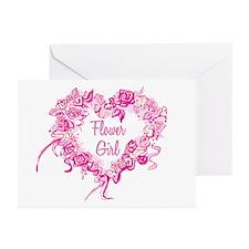 BP Pink Heart Flower Girl Greeting Cards (Pk of 20