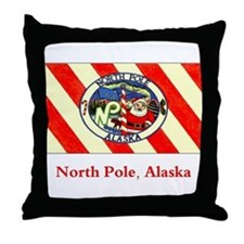 North Pole AK Flag Throw Pillow