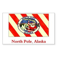 North Pole AK Flag Rectangle Decal