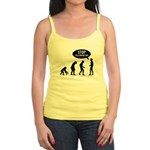 Evolution is following me Jr. Spaghetti Tank - Availble Sizes:Small,Medium,Large,X-Large - Availble Colors: White,Light Blue,Light Pink,Lemon