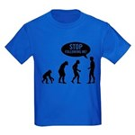 Evolution is following me Kids Dark T-Shirt - Availble Sizes:Kids X-Small,Kids Small,Kids Medium,Kids Large,Kids X-Large - Availble Colors: Black,Navy,Royal,Red,Purple,Green Camo,Black/White Camo,Pink Camo