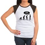 Evolution is following me Women's Cap Sleeve T-Shi - Availble Sizes:S (4-6),M (8-10),L (12-14),XL (16-18),XXL (20-22) (+$3.00) - Availble Colors: Black/White,Red/White,Brown/White