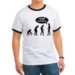 Evolution is following me Ringer T - Availble Sizes:Small,Medium,Large,X-Large,2X-Large (+$3.00) - Availble Colors: Black/White,Red/White,Navy/White