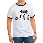 Evolution is following me Ringer T - Availble Sizes:Small,Medium,Large,X-Large,2X-Large (+$3.00) - Availble Colors: Black/White,Red/White,Navy/White