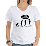 Evolution is following me Women's V-Neck T-Shirt - Availble Sizes:Small,Medium,Large,X-Large,2X-Large (+$3.00),3X-Large (+$3.00) - Availble Colors: White