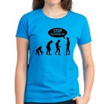 Evolution is following me Women's Dark T-Shirt - Availble Sizes:Small,Medium,Large,X-Large,2X-Large (+$3.00) - Availble Colors: Black,Red,Caribbean Blue,Violet,Pink,Navy,Charcoal Heather,Kelly