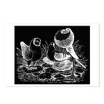 Etched Pigeon Trio Postcards (Package of 8)