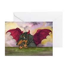 Batwing Weiner Dog Greeting Cards (Pk of 10)