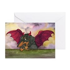 Batwing Weiner Dog Greeting Card