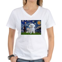 Starry Night / Maltese Women's V-Neck T-Shirt