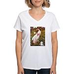 Windflowers / Maltese Women's V-Neck T-Shirt