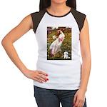 Windflowers / Maltese Women's Cap Sleeve T-Shirt