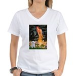 Fairies & Maltese Women's V-Neck T-Shirt