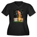 Fairies & Maltese Women's Plus Size V-Neck Dark T-
