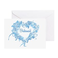 BP Blue Heart Bridesmaid Greeting Card