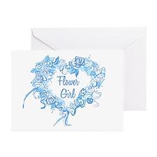 BP Blue Heart Flower Girl Greeting Cards (Pk of 10