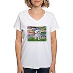 Lilies (2) & Maltese Women's V-Neck T-Shirt
